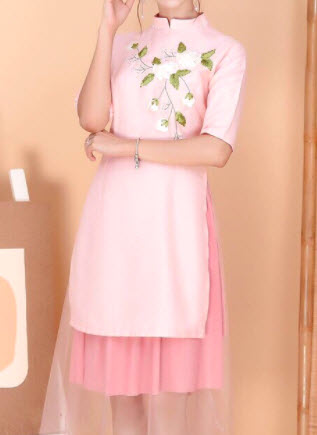 Áo dài cách tân màu hồng