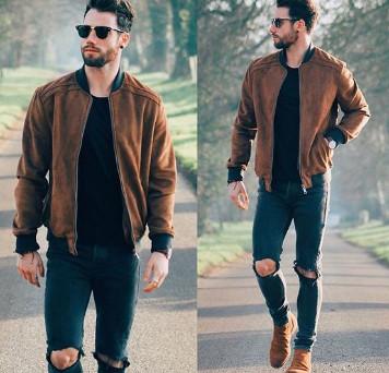 Áo khoác bomber jacket kaki nam