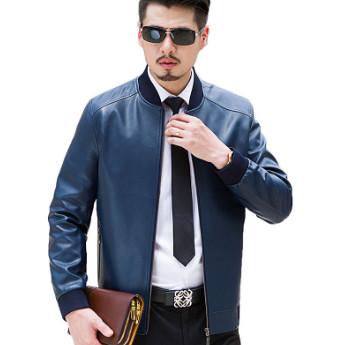 Áo khoác da nam xanh