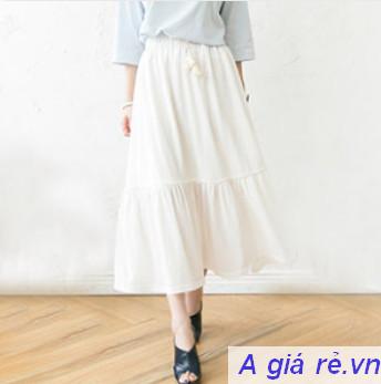 Chân váy maxi trắng