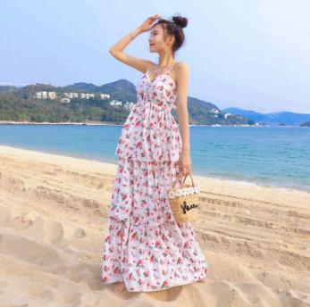Đầm maxi voan hoa đi biển