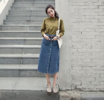 Chân váy Jean dài chữ A