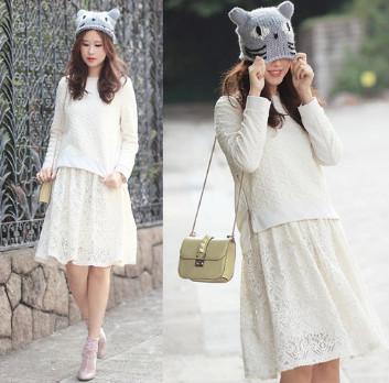 Chân váy ren chữ A màu trắng