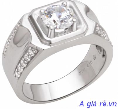 Nhẫn vàng trắng nam PNJ