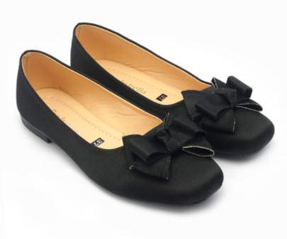 Giày búp bê nơ màu đen
