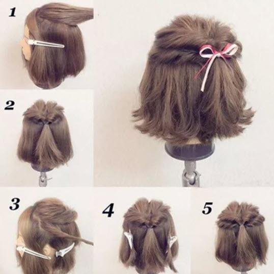 cách búi tóc ngắn nửa đầu