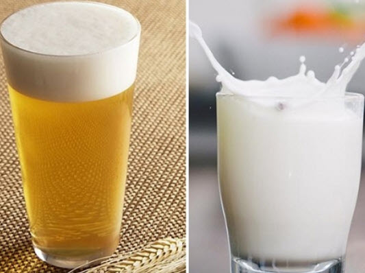 Dùng bia và sữa