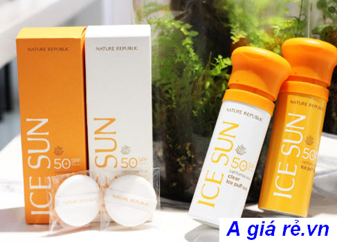 review kem chống nắng natural sun eco ice air puff sun