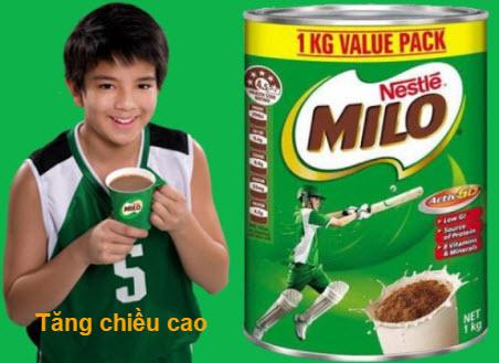 Uống sữa Milo tăng chiều cao