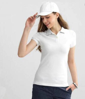 Áo phông nữ trắng có cổ