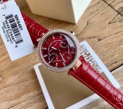 Đồng hồ Michael Kors nữ dây da đỏ