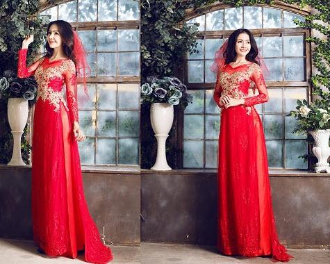 Áo dài màu đỏ cưới