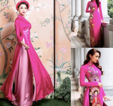 Áo dài hồng cánh sen