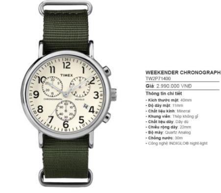 Đồng hồ Weekender Timex