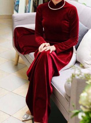 Áo dài cưới nhung đỏ