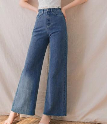 Quần jean ống suông lưng cao